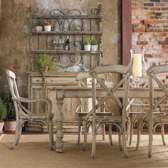 Wakefield 7-Piece Dining Set in Distressed Taupe with Cherry and Pine   Nebraska Furniture Mart