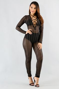 Striped Shine Corset Jumpsuit