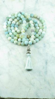 Sapana Mala - Amazonite Mala Beads - Buddhist Prayer Beads, 108 Mala Beads - heart chakra, harmony, compassion, and manifestation. by SaltSpringMalas on Etsy https://www.etsy.com/listing/244573193/sapana-mala-amazonite-mala-beads