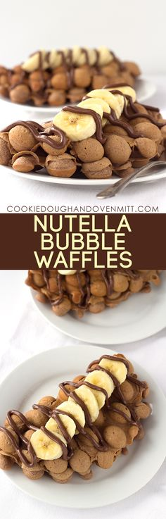 Need a new breakfast idea? Grab a egg waffle pan and make these nutella bubble waffles. They're amazing topped with bananas and a nutella drizzle.