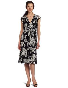 Evan Picone Women's Printed Obi Sash Chiffon Dress $99.00