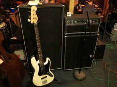 Fender American Jazz bass. Ampeg classic amp, hlf 4x10, 8x10