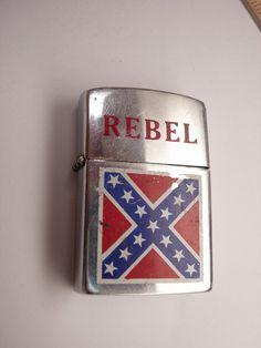 Vintage Rebel Flag Lighter Butane by NeatstuffAntiques on Etsy, $18.00