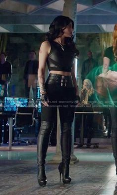 Isabelle's black belted leggings on Shadowhunters. Outfit Details: https://wornontv.net/65126/ #Shadowhunters