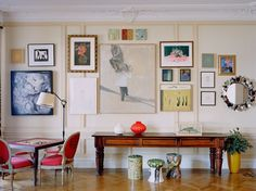 Love this asymmetrical gallery wall.