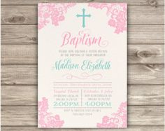 Baptism Printable Invitations Floral Cross Pink by cardmint