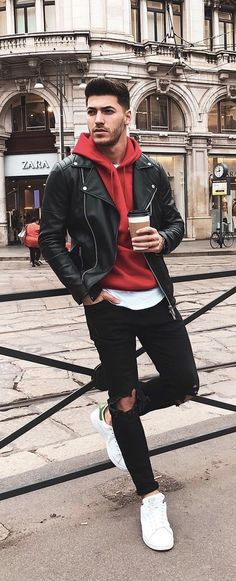 Summer outfit inspiration with a black leather jacket red hooded sweatshirt white t-shirt black ripped denim white stan smith adidas sneakers. Sneaker Outfits, Sneakers Fashion Outfits, Mode Outfits, Casual Outfits, Men Casual, Sweatshirt Outfit, Red Hoodie, Leather Jacket With Hood, Leather Jacket Outfits