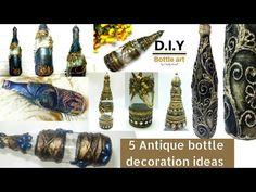 5 amazing Antique bottle decor ideas/ bottle decoration/diy bottle art - YouTube Glass Bottle Crafts, Diy Bottle, Bottle Vase, Bottles And Jars, Painted Kids Chairs, Small Round Mirrors, Decoupage Glass, Facebook Art, Altered Bottles