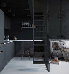 ➰ via @interiormilk  #worldsuniquedesigns #black #kitchen #livingroom #interior #design #loveit #designer #interiordesign #interiordesigner #kitchendecor #kitchendesign #kitchenideas #blackwall #homeoffice #home #içmimari #içmimar #siyah #dekorasyon #dekor #ofis #ev #mutfak #mutfakdekor #mutfakdekorasyon #içmimaritasarım #likepost #kitchenstyling #interiorstyling