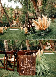 This colorful Colorado wedding featured greenery + pampas grass and a hand-painted wooden sign for wedding aisle makers Wedding Beauty, Boho Wedding, Destination Wedding, Wedding Flowers, Wedding Planning, Bohemian Chic Weddings, Airbnb Wedding, Elegant Wedding, Event Planning