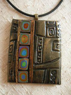 klimt --Polymer Clay Mosaic Pendant