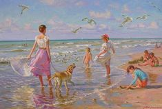 "Photo from album ""Аверин, Александр Николаевич (Alexander Nicolajevich Averin)"" on Yandex. Art Plage, Russian Painting, Sand And Water, Realistic Paintings, Beach Scenes, Beautiful Paintings, Beach Paintings, Beach Art, Pictures To Paint"