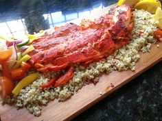 Tandoori haddock on a bed of herby, sweet chilli bulgar wheat and mango salad | The Spice Deli
