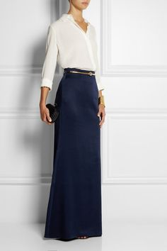 "✶ ""I was looking at the simplicity of the early nineties and Lee's tailoring from that time,"" said Sarah Burton of the Alexander McQueen Pre-Fall '14 collection. This midnight-blue skirt is constructed from lustrous satin-crepe and has a flattering fit-and-flare silhouette. The lining contains a touch of silk, ensuring it feels smooth against your skin.✶"