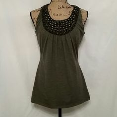 SALE Sioni Pearl and lace embellished top Form fitting Sioni Tops Tank Tops