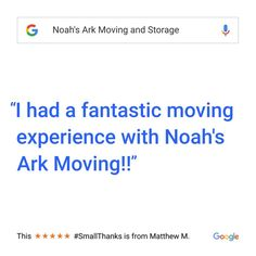 Thank you for taking the time to share your experience with us. #Connecticut #NewYork #NYC #Bronx #Professional #Moving #MovingCompany #CT #NY #BX #CommercialMoving #ResidentialMoving #LocalMoving #LongDistanceMoving #NoahsArkMoving #BestMovingCompanyinCT