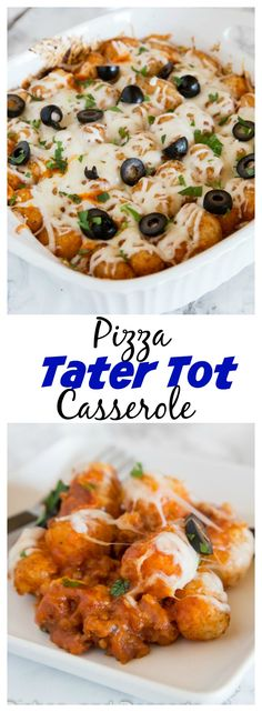 Pizza Tater Tot Casserole – the classic tater tot casserole you grew up with gets a makeover! A fun and easy casserole recipe that has all the flavors of your favorite pizza.