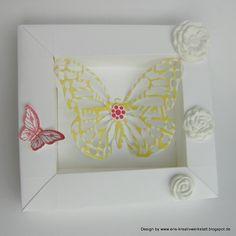 Kleiner Frühlings-Schmetterlings-Rahmen   http://eris-kreativwerkstatt.blogspot.de/2015/03/kleiner-fruhlings-schmetterlings-rahmen.html  #homedeko #stampinup #schmetterling