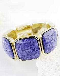 Brazalete empalmado dorado piedra Violeta EUR€5.65