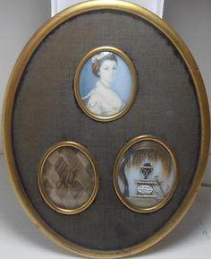 SUPERB GEORGIAN PORTRAIT MINIATURE TRIPLE MOURNING HAIR GROUP ANNE UNWIN 1780