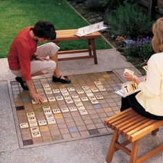 A homemade board game gives extra play to this patio