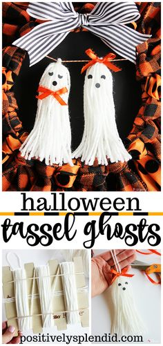 Tutorial for how to make tassel ghosts for Halloween using Bucilla RyaTie. An easy Halloween craft idea to embellish wreaths, garlands and more! Halloween Ribbon, Easy Halloween Crafts, Halloween Crochet, Halloween Projects, Diy Halloween Decorations, Holidays Halloween, Halloween Wreaths, Halloween Ideas, Halloween Stuff