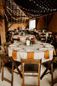 Rust and Blush Beaverton Wedding at The Butler Barn This rustic reception features orange + wood accents and plenty of twinkle lights Wedding Table Centerpieces, Wedding Reception Decorations, Table Decorations, Reception Ideas, Wedding Ideas, Fall Wedding Table Decor, Orange Wedding Decor, Round Table Decor Wedding, White Wedding Linens