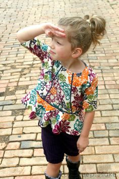 Piped Peplum Top + Free Pattern | Eat Sleep Make via kids clothes week blog