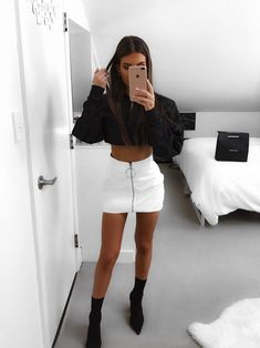Pu leather, white skirt outfits, leather skirt outfits, night outfits, even White Skirt Outfits, Komplette Outfits, Teenage Outfits, Cute Casual Outfits, Night Outfits, Fall Outfits, Fashion Outfits, Womens Fashion, Classy Outfits For Going Out