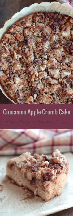 A delicious Cinnamon Apple Crumb Cake or Coffee Cake - perfect for breakfast or a snack, this recipe can be made into muffin form too!