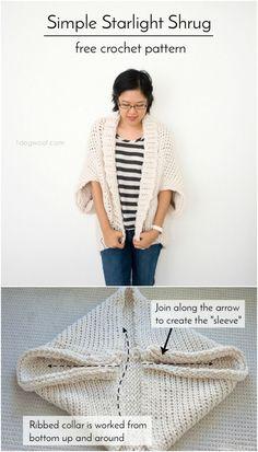 Starlight Shrug - this cozy, warm shrug uses the Tunisian crochet stitch to make a super warm design