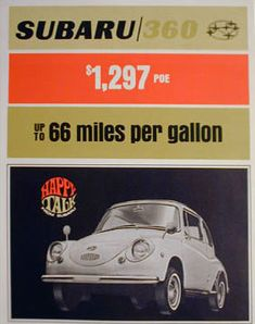 Subaru vintage - Up to 66 miles per gallon.