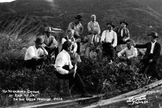 """The Millionaires Club of Contentment and Happiness, circa 1915-1920. The Millionaires Club of Contentment and Happiness consisted of a local group of men who used to gather in Tujunga to socialize and help the local community, as well as individuals who were in need. The group was made famous all over Southern California by McGroarty's weekly column in the Los Angeles Times Magazine, """"The Green Verdugo Hills."""" McGroarty Arts Center. San Fernando Valley History Digital Library."""