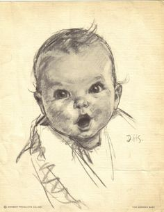 Gerber Baby -weren't we all Gerber Babies? :-) The original Gerber baby, who's now It was 1927 when Ann Turner Cook was painted by an artist for the Gerber campaign Gerber Baby, My Childhood Memories, Great Memories, Portrait Au Crayon, Baby Icon, Photo Images, Gerbera, Illustrations, The Good Old Days
