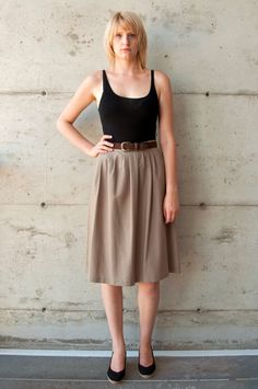 High Waisted Pleated Skirt / Vintage Full Beige Skirt / Circle Midi Skirt. $23.00, via Etsy.