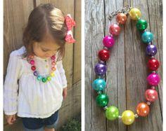Las niñas del arco iris collar grueso por craftingballerinamom