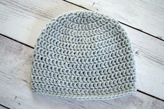 "Crochet Britton Beanie Toddler - Grey. The Beanie In This Listing Is Ready To Ship Simply classic the Britton Beanie is perfect for any occasion! Measurements: Hat is 6.5"" from top of the hat to the brim 17.5"" around brim of hat Hat fits heads with a circumference of 17"" - 18.5"" One Size Fits Most Preschool/Toddler Up to 3 Years Care Instructions: Machine Wash Cold, Gentle Cycle. Air Dry Original design by Wendy Mille (The Mille Shop) Hand crocheted by me, for you!."