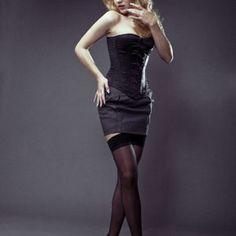 black satin overbust corset