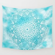 Blue Sky Mandala Wall Tapestry in White and Turquoise by Kelly Dietrich