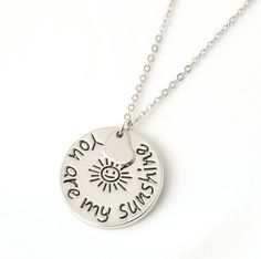You Are My Sunshine Charm Necklace Silver Plated Round Pendant with Heart  #HandmadewithLove #Pendant