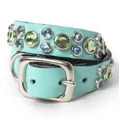 Peridot And Aqua Crystals On Aqua Leather Dog Collar