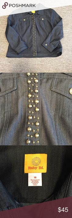 Jean jacket and pants NWOT Black jean jacket with grommets and black jeans with side pockets. Perfect condition. Jacket is 21 in pit to pit and 21 1/2 in long. Jeans have 36 in waist but does have elastic on sides of waist so could be stretched. 30 1/2 inseam. Could be sold separately. Ruby Rd. Jackets & Coats Jean Jackets