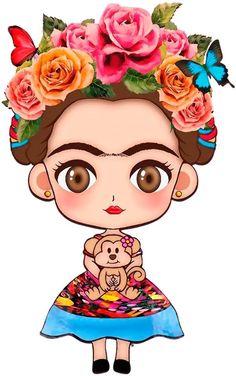 Risultato immagini per festa frida kahlo infantil Frida Kahlo Birthday, Frida Kahlo Cartoon, Tattoo Studio, Mexican Party, New Wall, Art Journals, Folk Art, Saatchi, Chibi