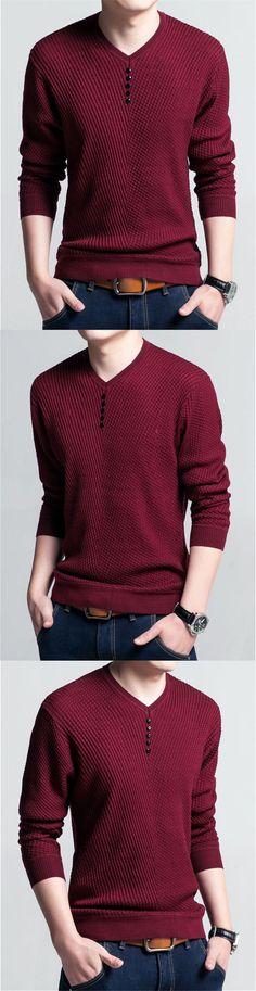 Men's V Neck Sweater - Long Sleeve Wool Casual Knitwear