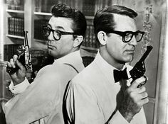 Cary Grant & Robert Mitchum- clefts, geek glasses, and guns... wow, what a…