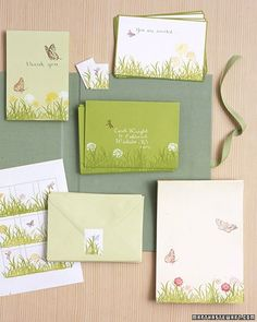 A green ink pad and rubber stamps can add a flight of fancy to your Easter card.