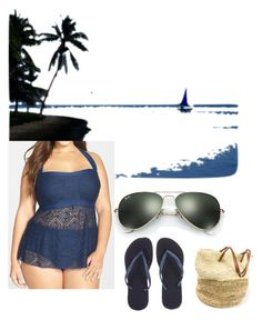 """Blue Lagoon Love"" by caguirre40 ❤ liked on Polyvore featuring SwimSpot and Ray-Ban"
