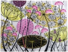 Printmaker Angie Lewin is a fabulous artist working in a range of printmaking techniques including lithography, silkscreen and etching. Linocut Prints, Art Prints, Angie Lewin, Wood Engraving, Print Artist, Art Paintings, Screen Printing, Pattern Design, Print Patterns