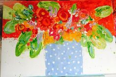 Lief flowers  kleurrijk modern groot langwerpig schilderij  Www.carinart.nl Groot, Painting, Modern Art, Painting Art, Paintings, Painted Canvas, Drawings