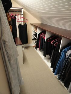 Attic Closet Design, I like having the shelf over the knee wall storage - for loft bedroom storage Attic Bedroom Closets, Bedroom Closet Storage, Attic Closet, Bedroom Closet Design, Upstairs Bedroom, Attic Rooms, Attic Spaces, Closet Designs, Storage Closets